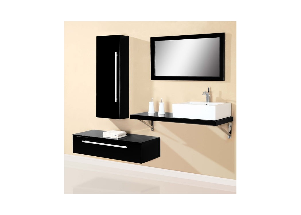 meuble de salle de bain simple vasque noir sd701hn. Black Bedroom Furniture Sets. Home Design Ideas