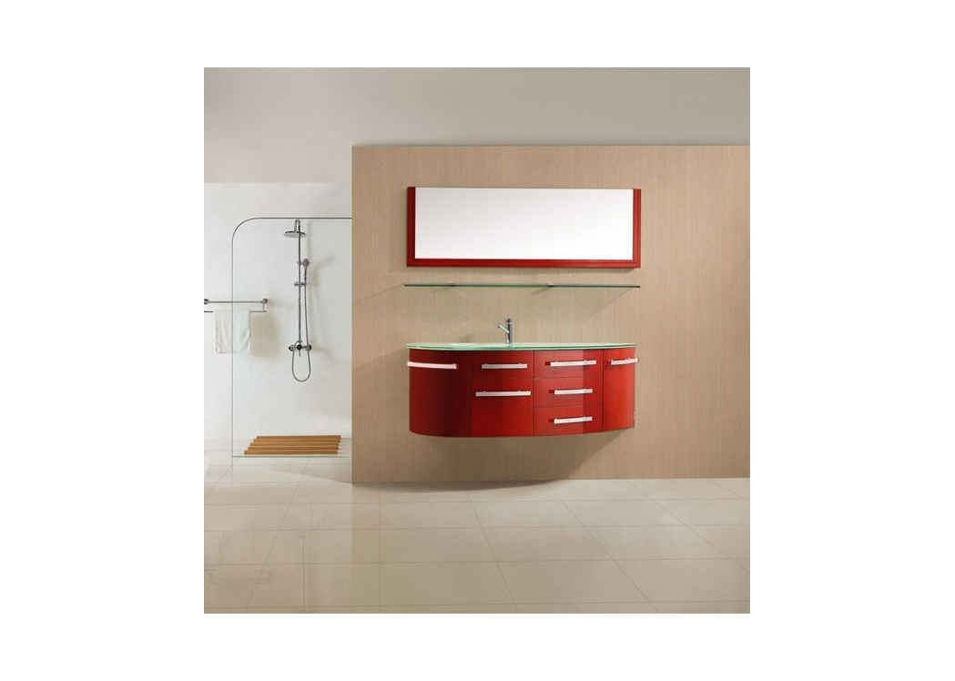 meuble de salle de bain simple vasque rouge cerise laqu sdg946rc. Black Bedroom Furniture Sets. Home Design Ideas