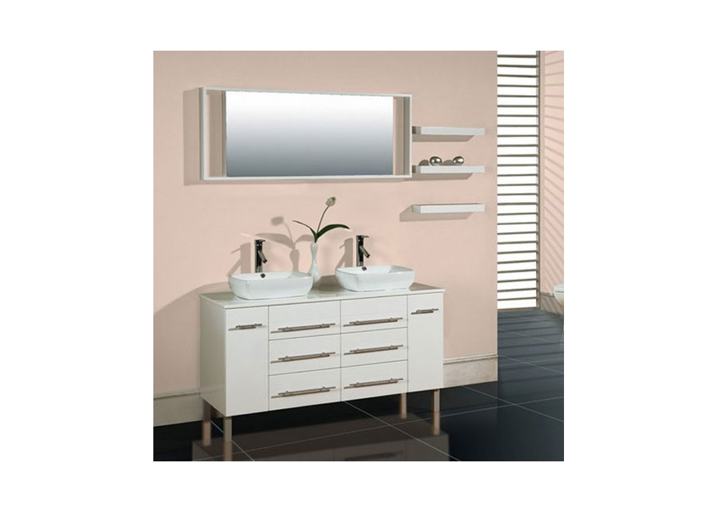 meuble de salle de bain double vasque blanc sd619 41b. Black Bedroom Furniture Sets. Home Design Ideas