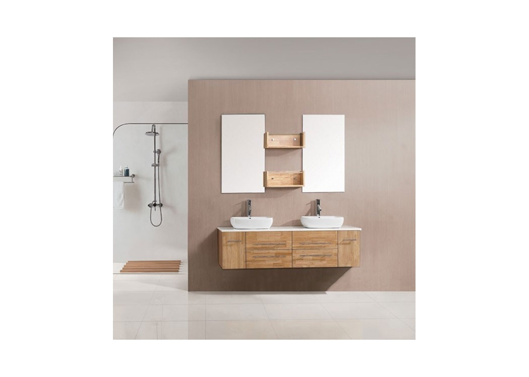 meuble de salle de bain double vasque bois naturel sd619mbn. Black Bedroom Furniture Sets. Home Design Ideas