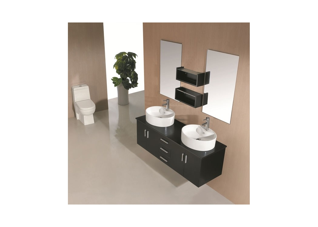 meuble de salle de bain double vasque noir sd622n. Black Bedroom Furniture Sets. Home Design Ideas
