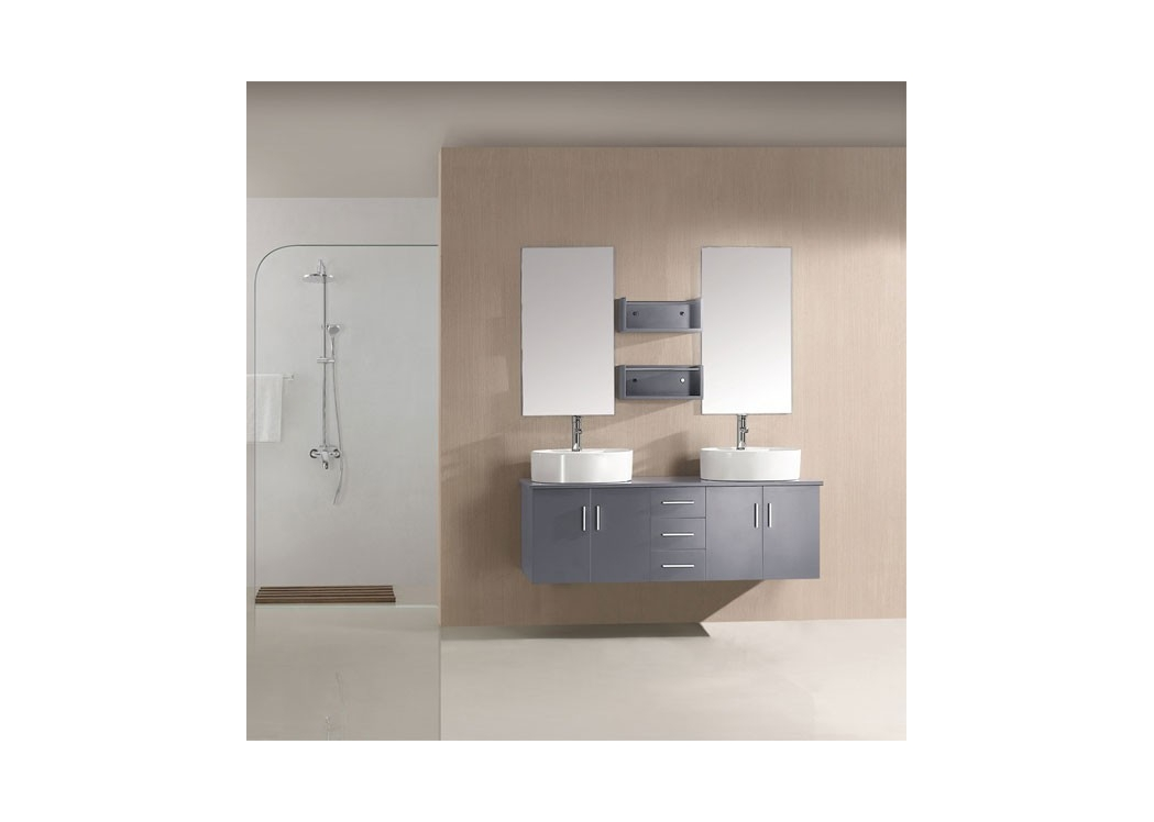 meuble de salle de bain double vasque gris sd622gt. Black Bedroom Furniture Sets. Home Design Ideas