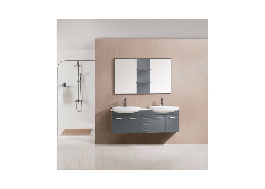 meuble de salle de bain double vasque gris taupe sd693gt. Black Bedroom Furniture Sets. Home Design Ideas