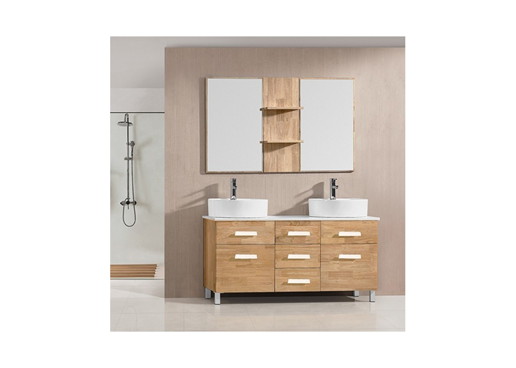 sd911bn meuble de salle de bain bois naturel meuble salle de bain 140cm. Black Bedroom Furniture Sets. Home Design Ideas