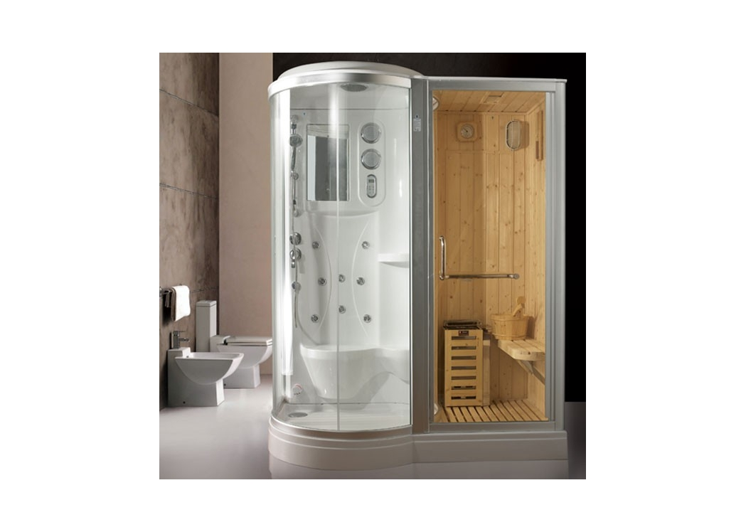 cabine de douche hydromassante hammam sauna 8 jets blanche everest. Black Bedroom Furniture Sets. Home Design Ideas