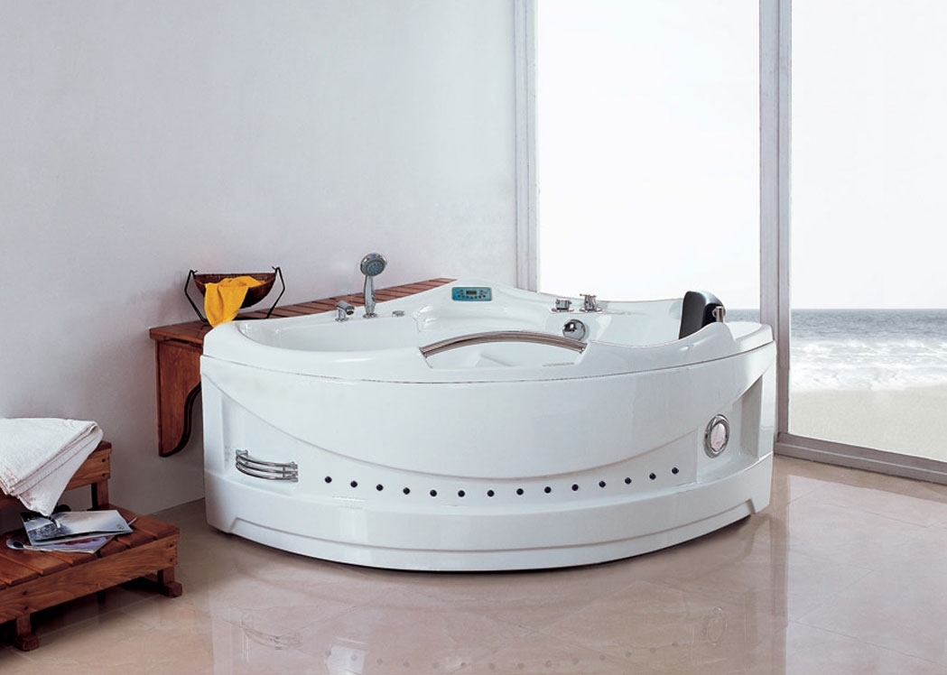 Mayotte baignoire baln o d 39 angle whirlpool 29 jets for Baignoire balneo ronde encastrable