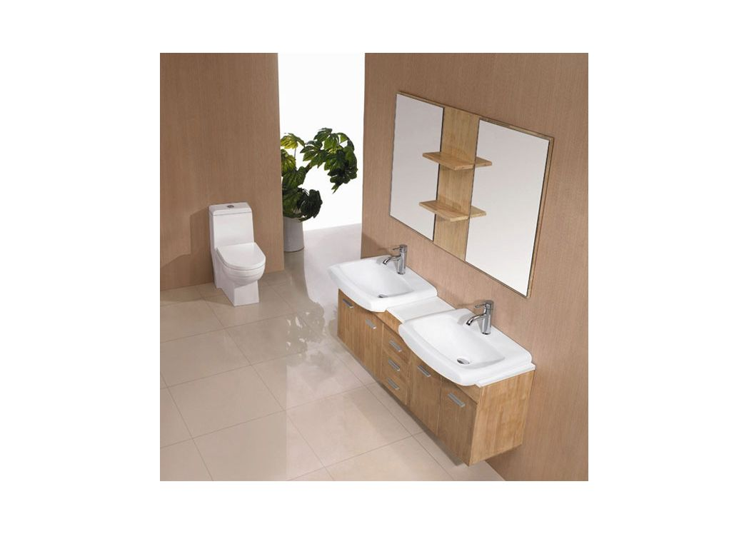 meuble de salle de bain 2 vasques bois naturel sd693bn ensemble meuble salle de bain. Black Bedroom Furniture Sets. Home Design Ideas