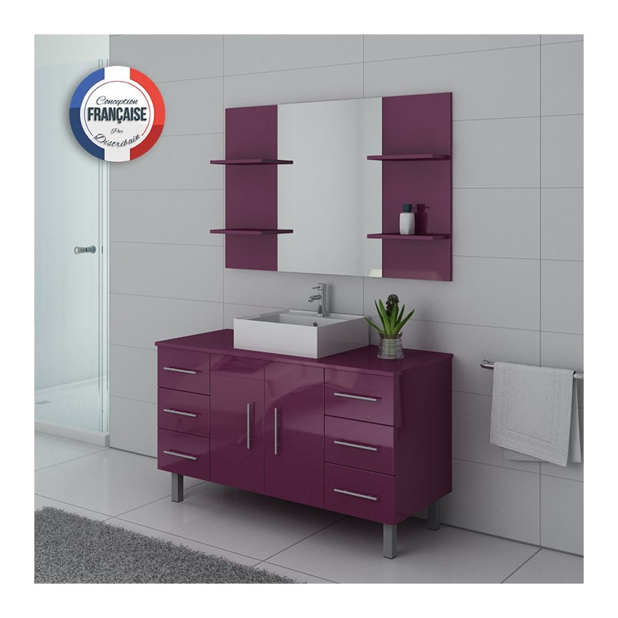 turin au meuble salle de bain sur pieds aubergine. Black Bedroom Furniture Sets. Home Design Ideas