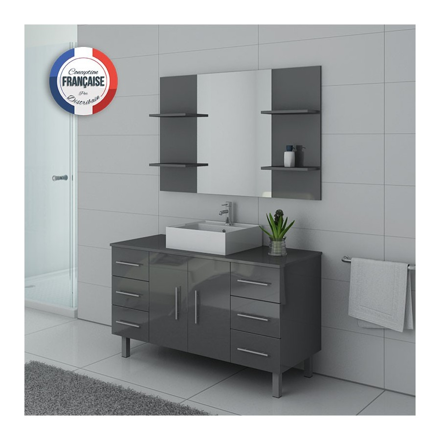 turin gt meuble salle de bain sur pieds gris taupe. Black Bedroom Furniture Sets. Home Design Ideas