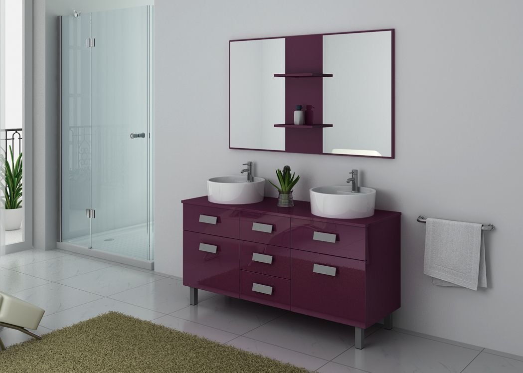 ensemble meuble salle de bain meuble salle de bain 2 vasques aubergine dis911au. Black Bedroom Furniture Sets. Home Design Ideas