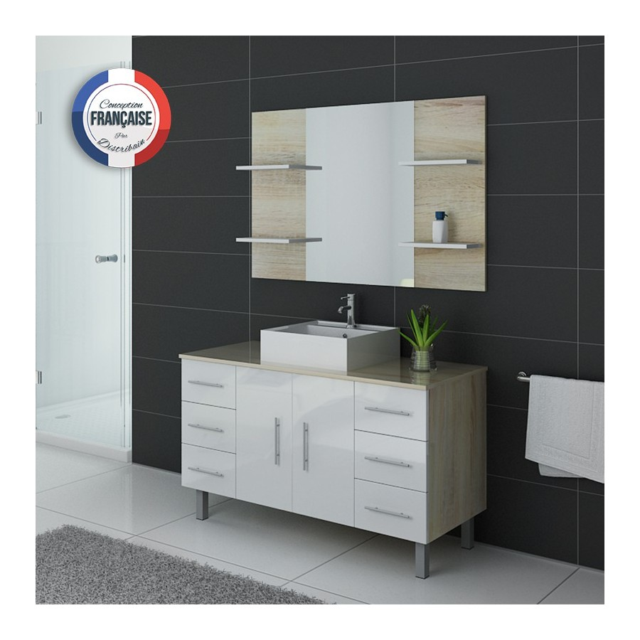 turin sc b meuble salle de bain sur pieds bicolore scandinave et blanc. Black Bedroom Furniture Sets. Home Design Ideas