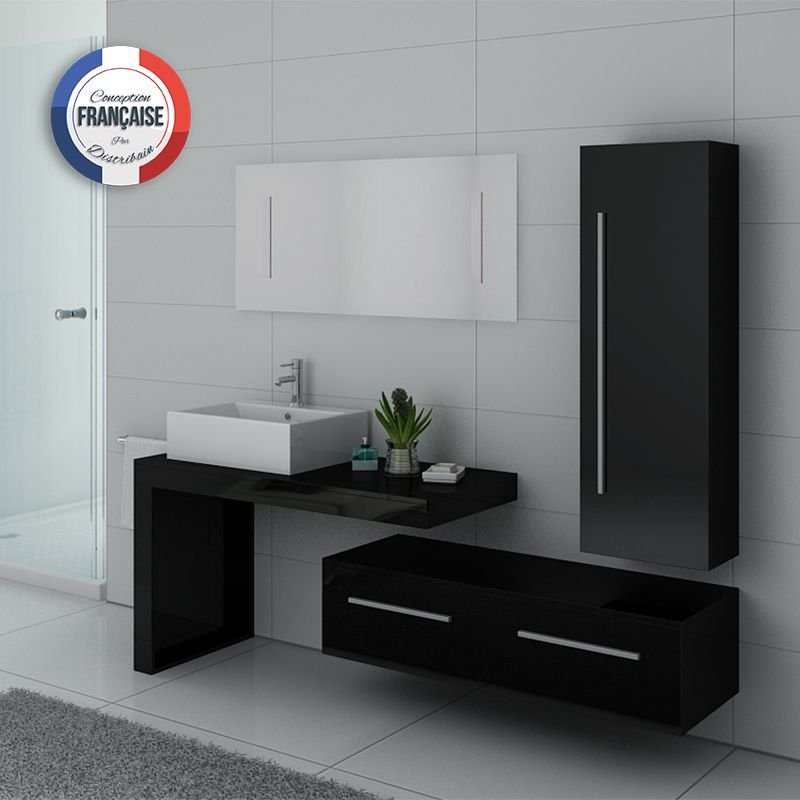 ensemble meuble salle de bain meuble salle de bain noir dis9250n. Black Bedroom Furniture Sets. Home Design Ideas