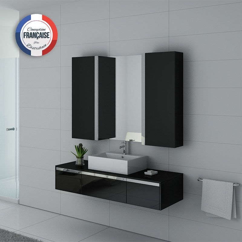 ensemble meuble salle de bain meuble salle de bain noir dis9650n. Black Bedroom Furniture Sets. Home Design Ideas