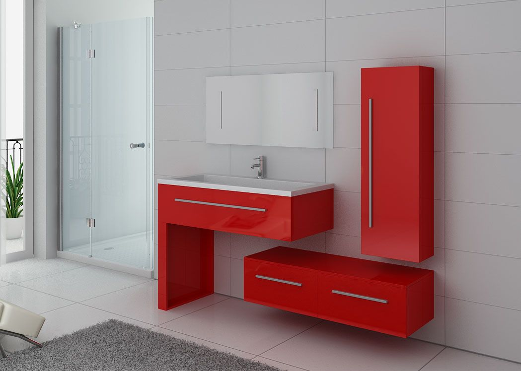 Meuble simple vasque meuble de salle de bain rouge dis9251co for Set de salle de bain rouge