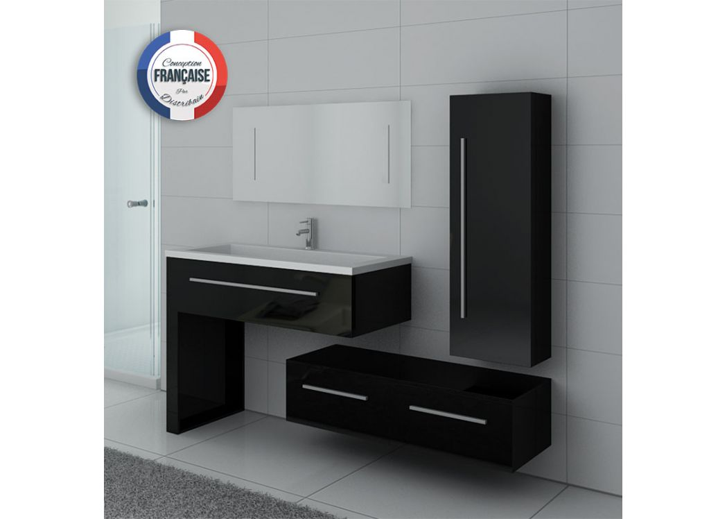 meuble simple vasque meuble de salle de bain noir dis9251n. Black Bedroom Furniture Sets. Home Design Ideas