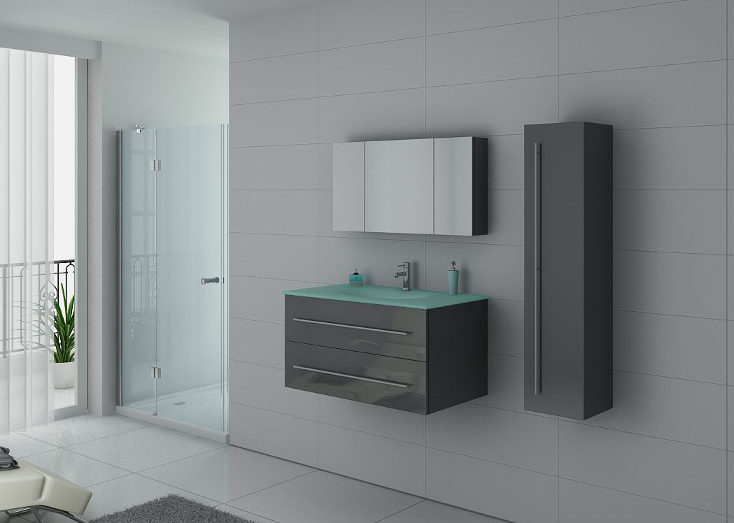 Meuble de salle de bain simple vasque gris taupe for Ensemble meuble salle de bain simple vasque