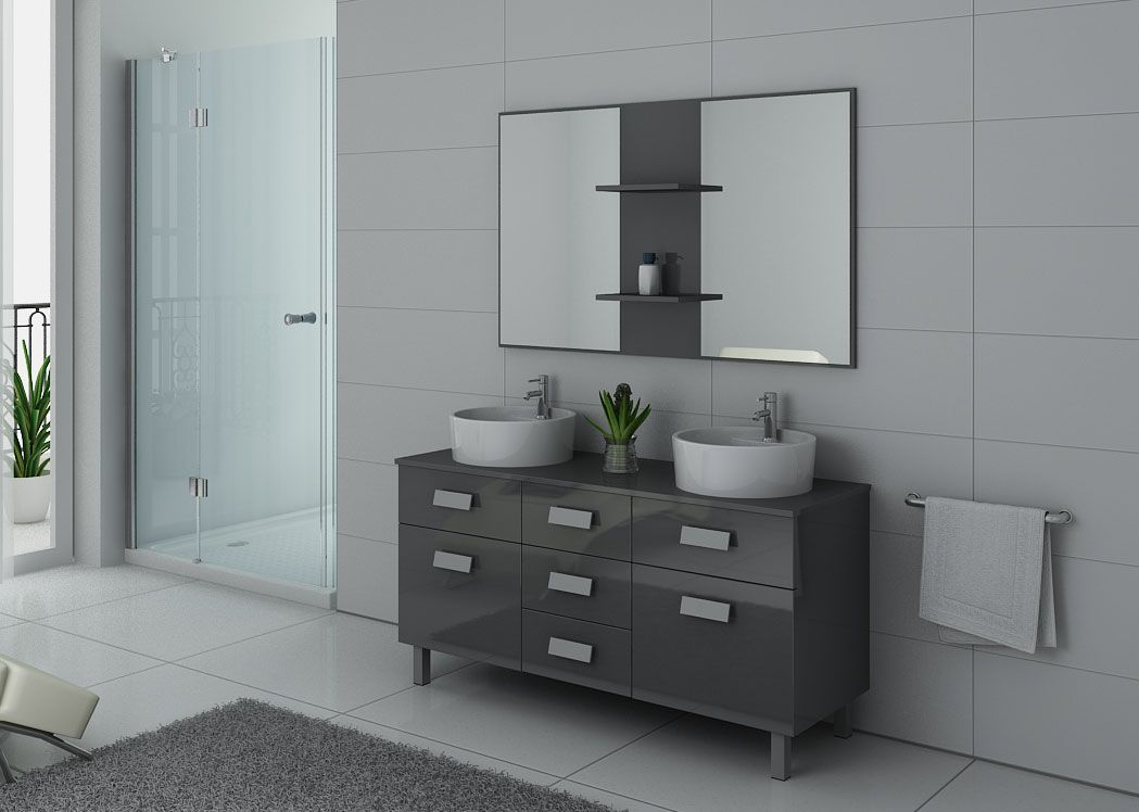 meuble de salle de bain double vasque gris dis911gt. Black Bedroom Furniture Sets. Home Design Ideas