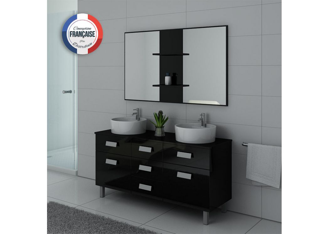 meuble de salle de bain double vasque noir dis911n. Black Bedroom Furniture Sets. Home Design Ideas
