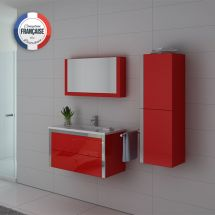 Meuble salle de bain simple vasque coquelicot DIS025-900CO