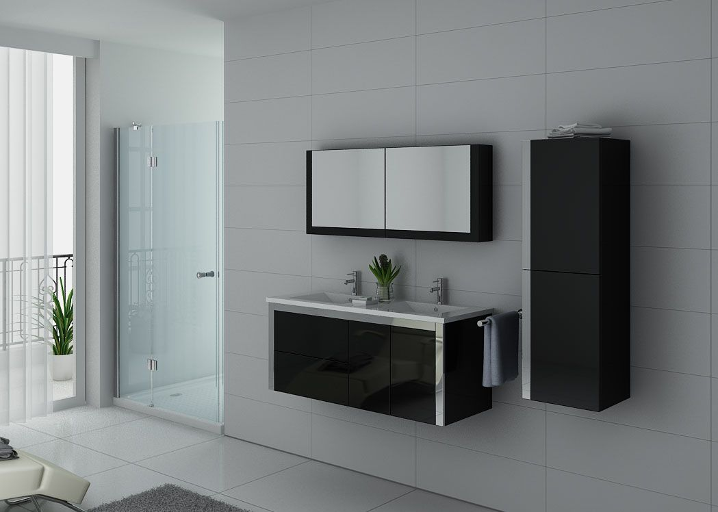 meuble de salle de bain double vasque noir dis025 1200n. Black Bedroom Furniture Sets. Home Design Ideas
