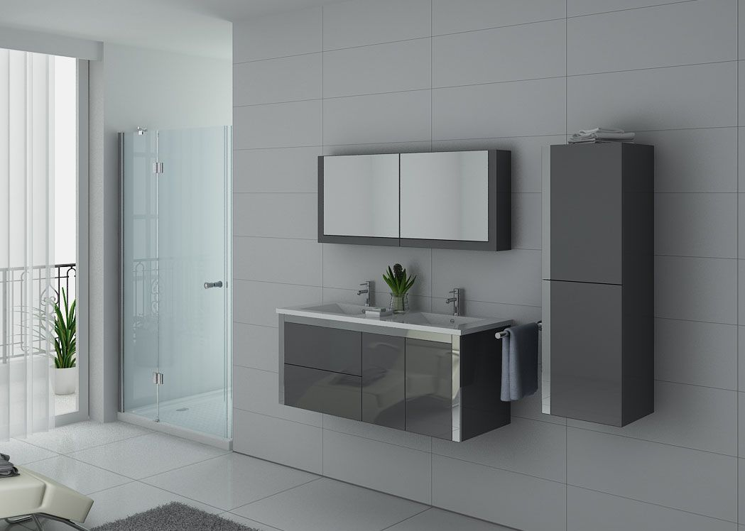 meuble de salle de bain 2 vasques gris taupe dis025 1200gt ensemble meuble salle de bain. Black Bedroom Furniture Sets. Home Design Ideas