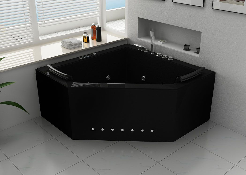 baignoire baln o d 39 angle deux places noire duo black. Black Bedroom Furniture Sets. Home Design Ideas