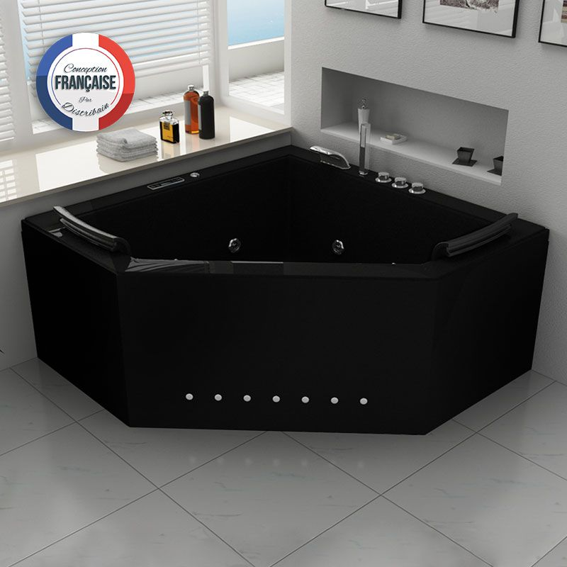 Duo Black Baignoire Balnéo d'angle 31 jets