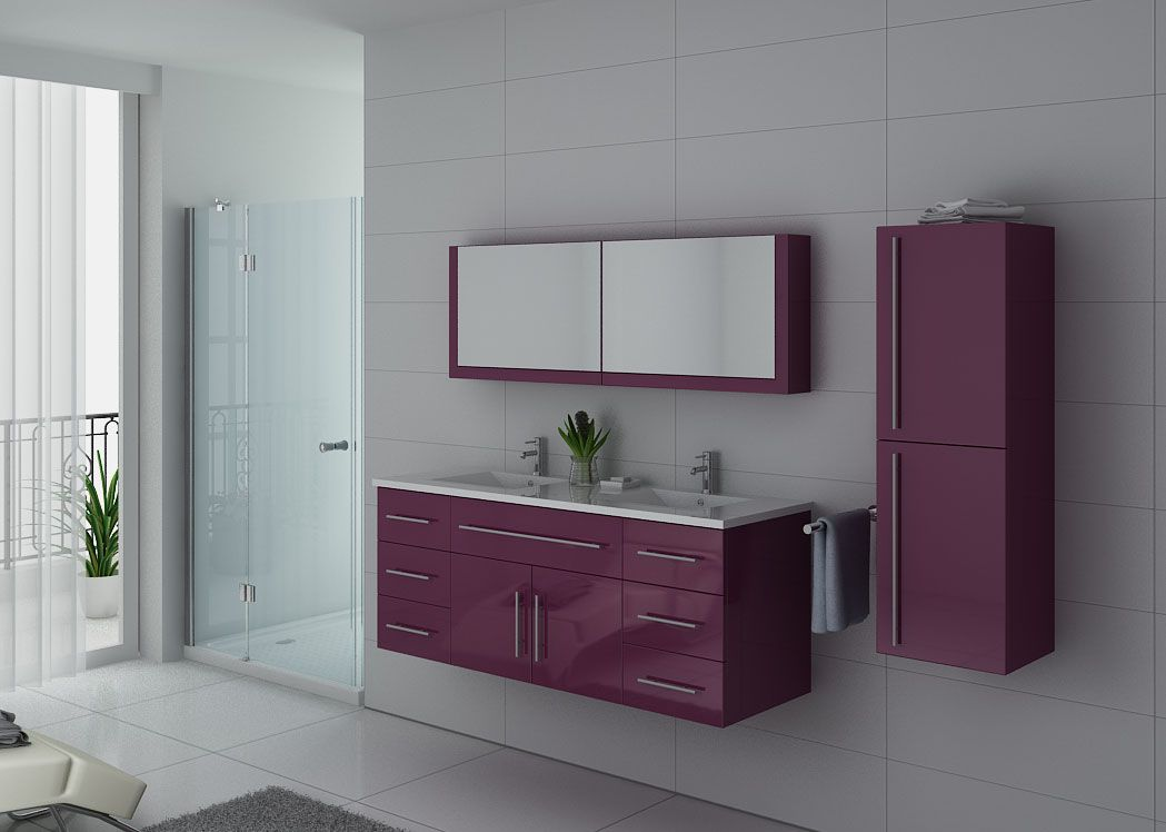 meuble double vasque meuble de salle de bain aubergine dis749au. Black Bedroom Furniture Sets. Home Design Ideas