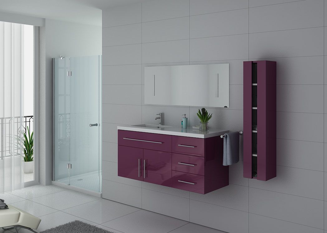 meuble salle de bain mobilier de salle de bain meuble salle de bain 1 vasque urban aubergine. Black Bedroom Furniture Sets. Home Design Ideas