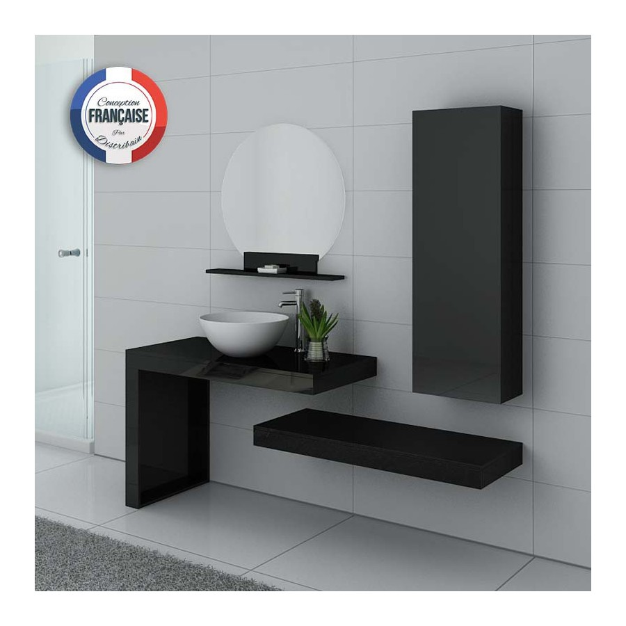 monza n meuble salle de bain noir laqu. Black Bedroom Furniture Sets. Home Design Ideas