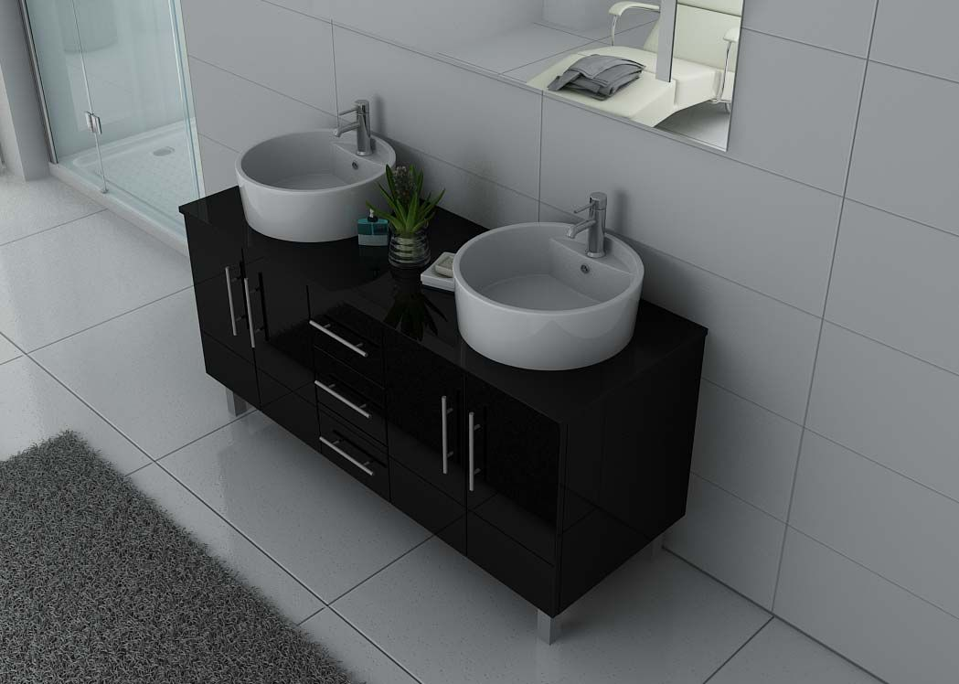 meuble de salle de bain double vasque noir dis989n. Black Bedroom Furniture Sets. Home Design Ideas
