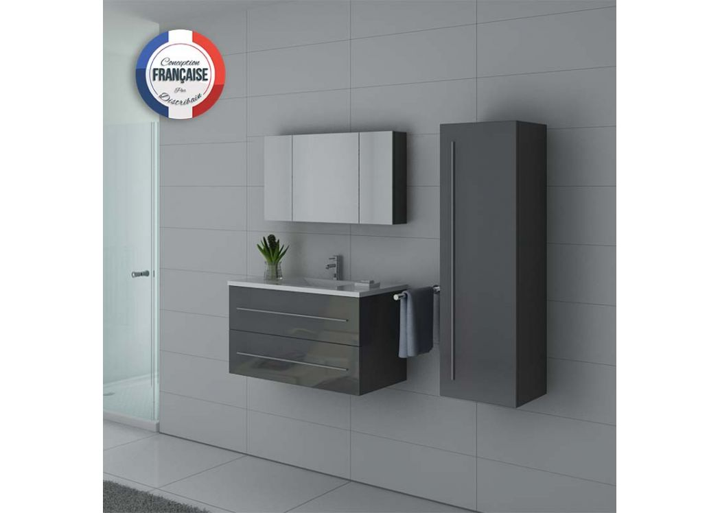Meuble de salle de bain simple vasque gris taupe nova for Meuble sdb gris