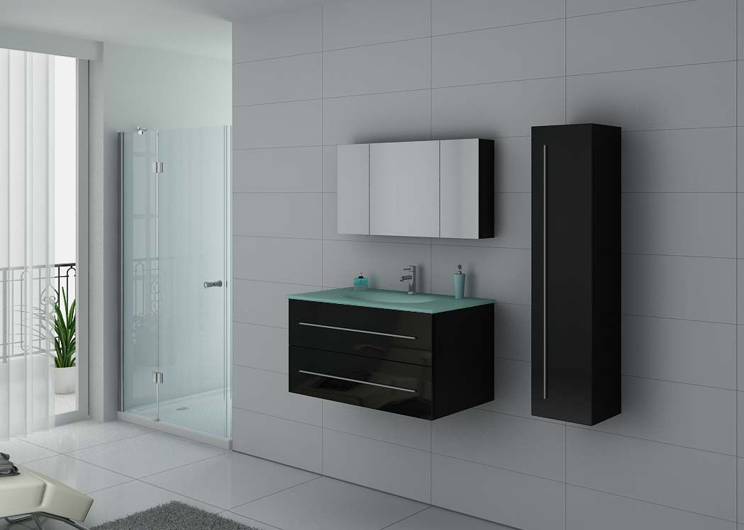meuble de salle de bain simple vasque noir dis983n. Black Bedroom Furniture Sets. Home Design Ideas