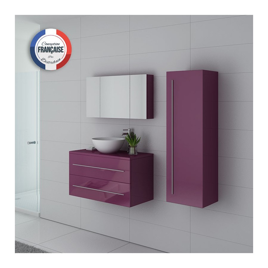 cosenza au meuble salle de bain aubergine. Black Bedroom Furniture Sets. Home Design Ideas