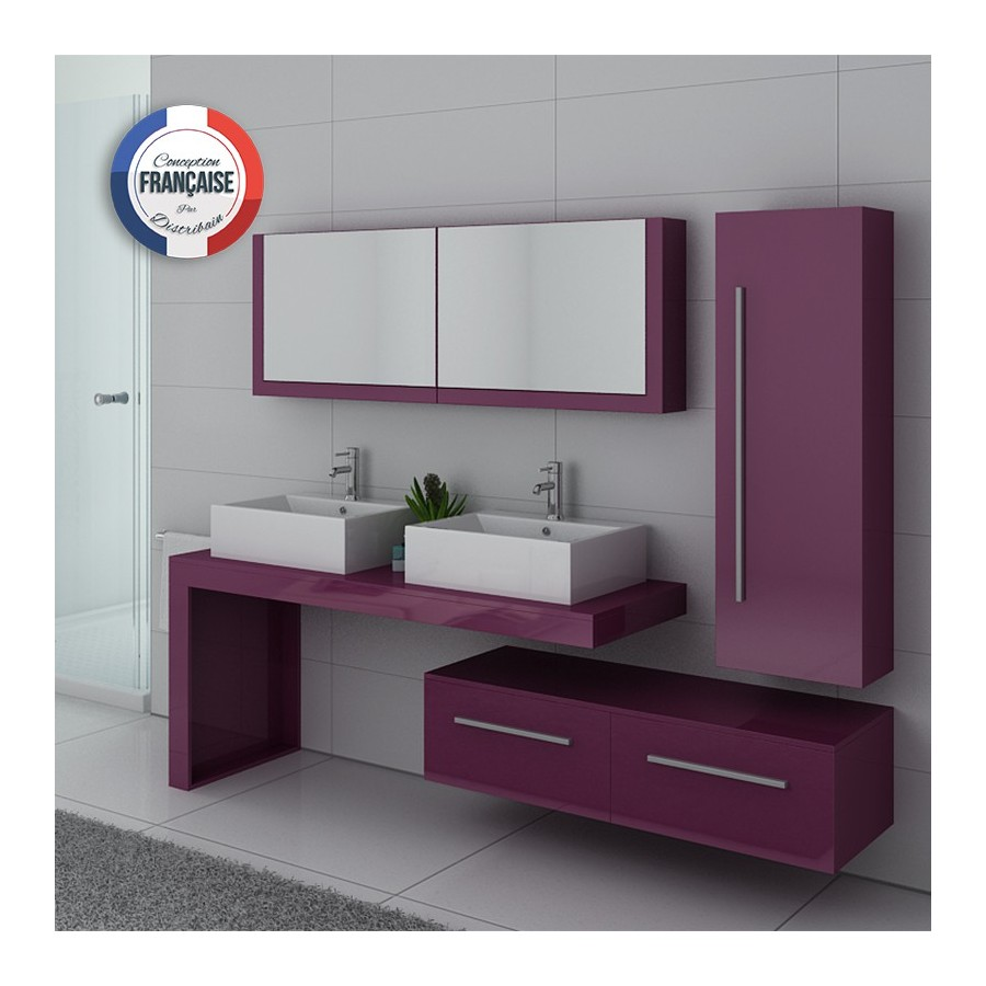 dis9350au meuble salle de bain aubergine. Black Bedroom Furniture Sets. Home Design Ideas