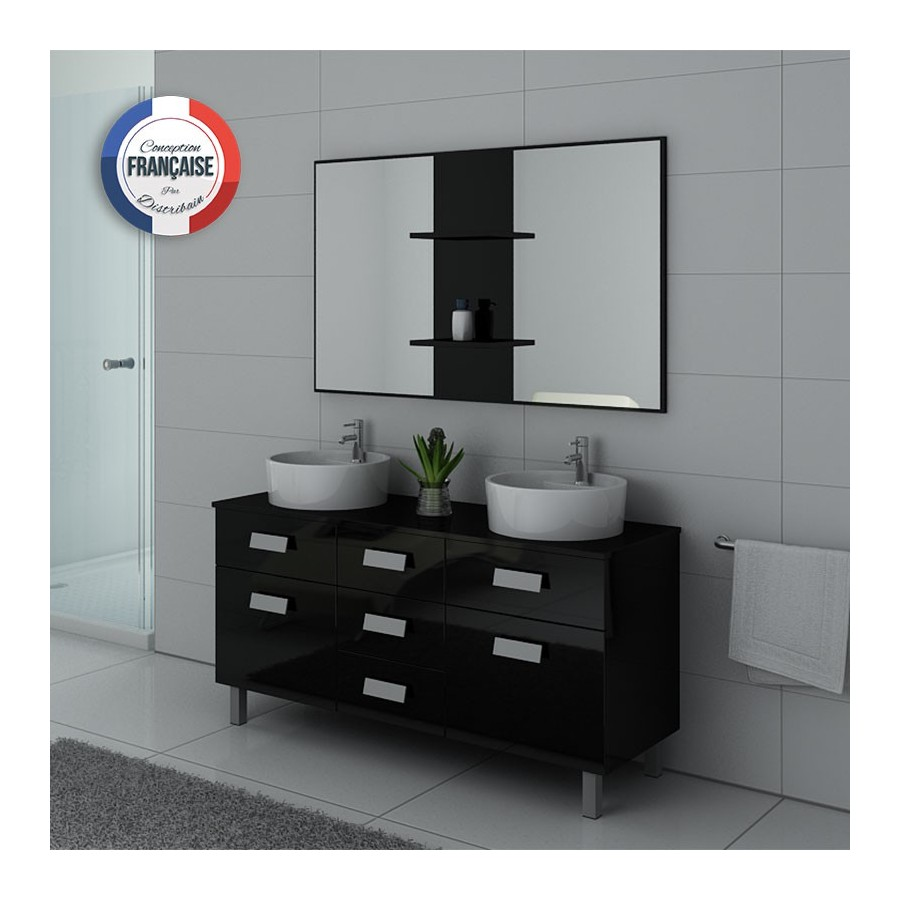 dis911n meuble salle de bain noir. Black Bedroom Furniture Sets. Home Design Ideas
