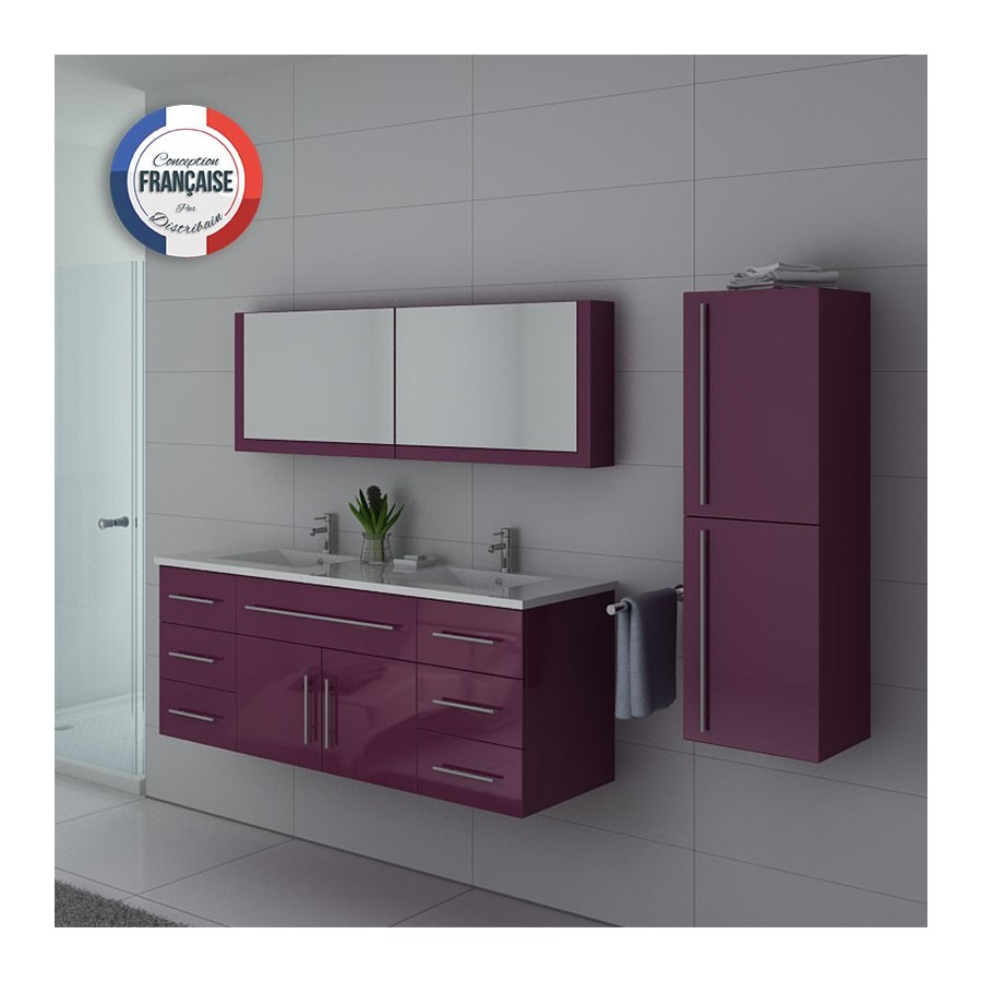 dis749au meuble de salle de bain aubergine. Black Bedroom Furniture Sets. Home Design Ideas