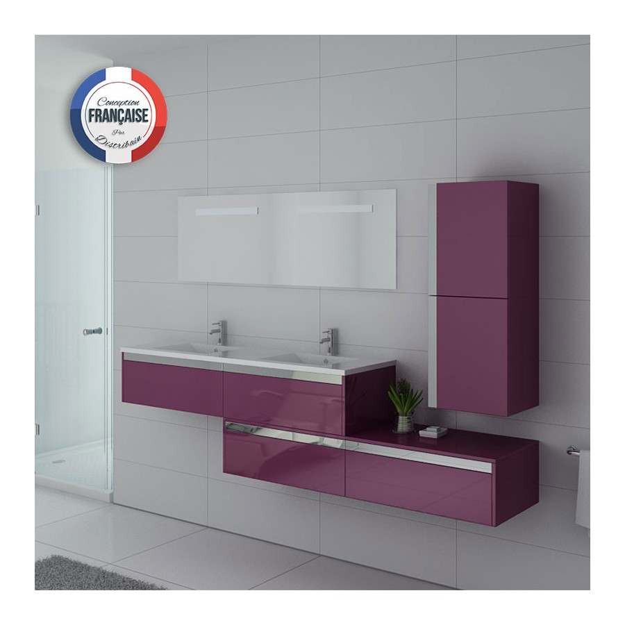 bellissimo au meuble salle de bain aubergine. Black Bedroom Furniture Sets. Home Design Ideas