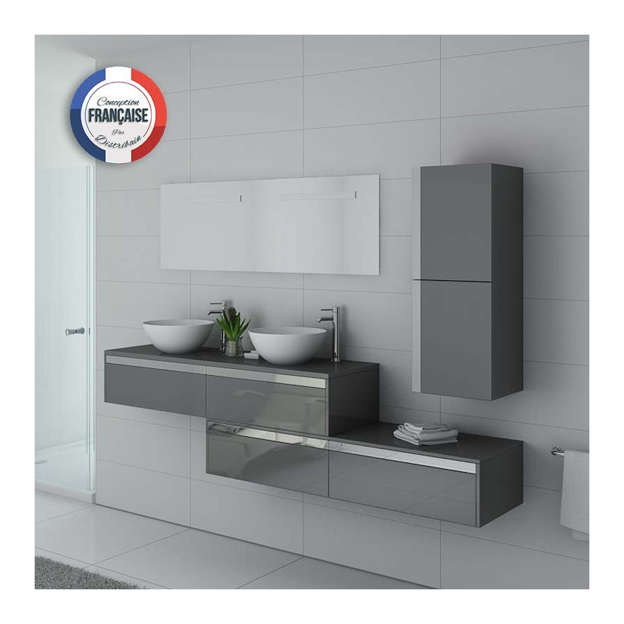 dolce vita gt meuble salle de bain double vasque gris taupe. Black Bedroom Furniture Sets. Home Design Ideas