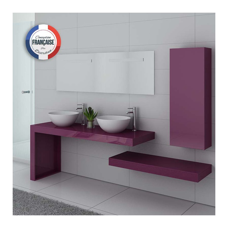 ensemble meubles salle de bain aubergine monza duo au. Black Bedroom Furniture Sets. Home Design Ideas