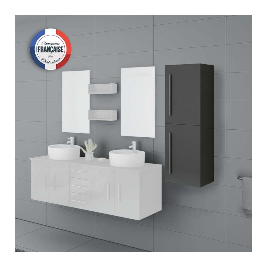 col747gt colonne de rangement salle de bain gris taupe. Black Bedroom Furniture Sets. Home Design Ideas