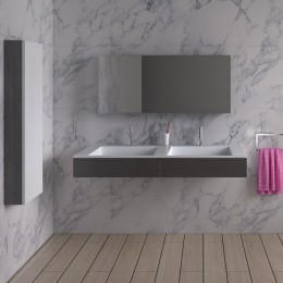Double plan vasque solid surface Réf : SDPW12-D