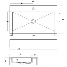 Dimensions du plan vasque solid surface SDPW17
