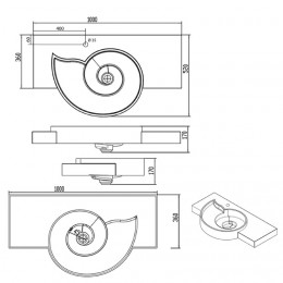 Plan vasque solid surface spirale Réf : SDPW43