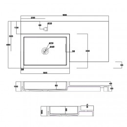 Dimensions du plan vasque solid surface SDPW48