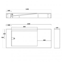Dimensions du plan vasque solid surface SDPW12-B
