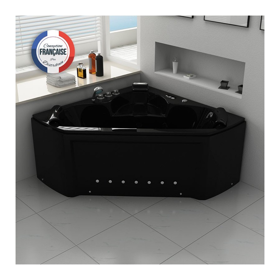 maloya black baignoire baln o d 39 angle whirlpool 28 jets. Black Bedroom Furniture Sets. Home Design Ideas