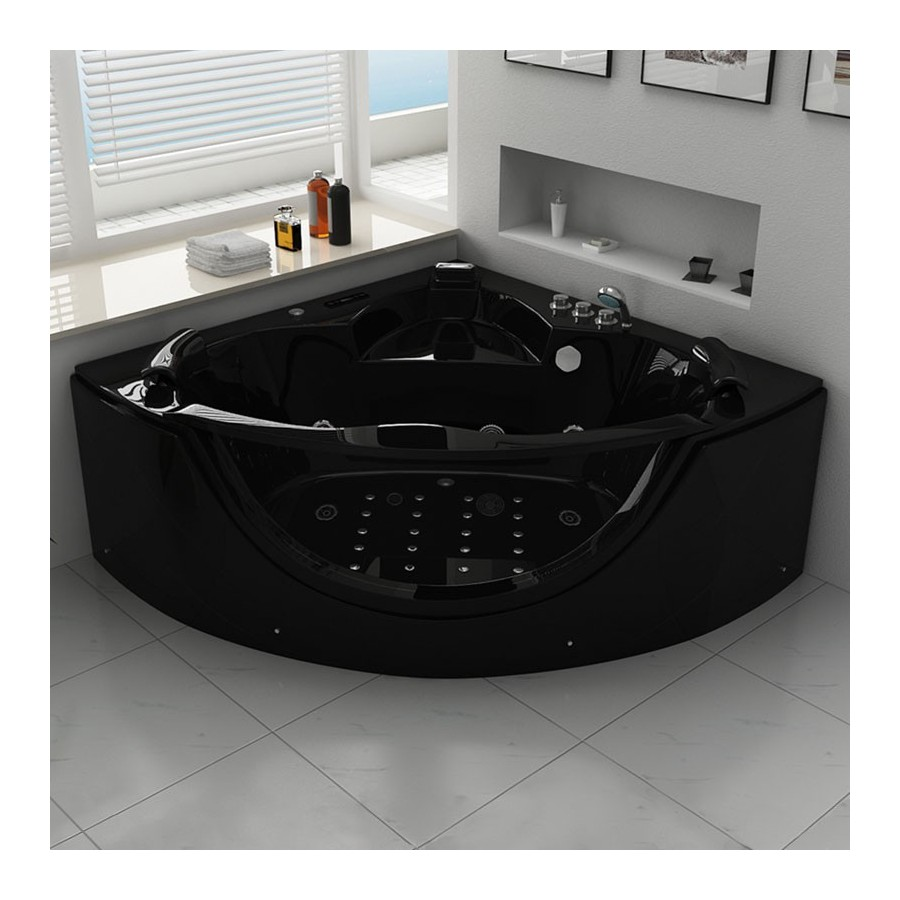 rio black baignoire balneo d 39 angle whirlpool 32 jets. Black Bedroom Furniture Sets. Home Design Ideas