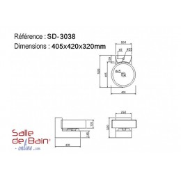 Dimensions du lave main suspendu SD3038