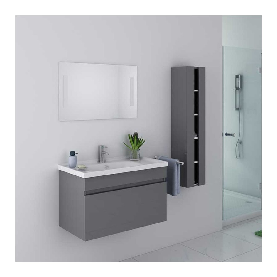 dis800agt meuble salle de bain gris taupe avec colonne et miroir. Black Bedroom Furniture Sets. Home Design Ideas